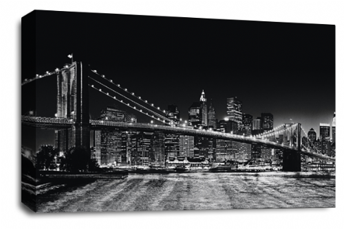 Brooklyn Bridge Art New York Skyline Black Panorama Canvas Wall Panel